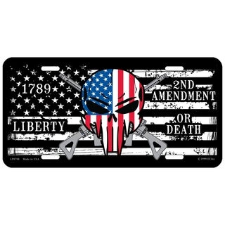 2nd Amendment Liberty or Death USA Flag Demon Skull License Plate