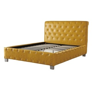Polyurethane Leather Upholstered Button Tufted Queen Bed Citrus Yellow