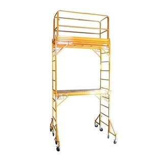 Offex Two Story Rolling Scaffold Tower - Yellow