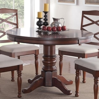 Round Wooden Dining Table With Sturdy Base Brown