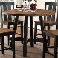 Round Rubber and Pine Wood Counter Height Table With X base Brown