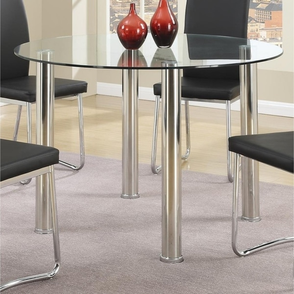 Contemporary Style Metal Table with Round Glass Tabletop, Silver