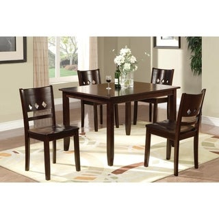 Dark Oak Brown Wooden Dining Table And Chairs 5 Piece Dining Set