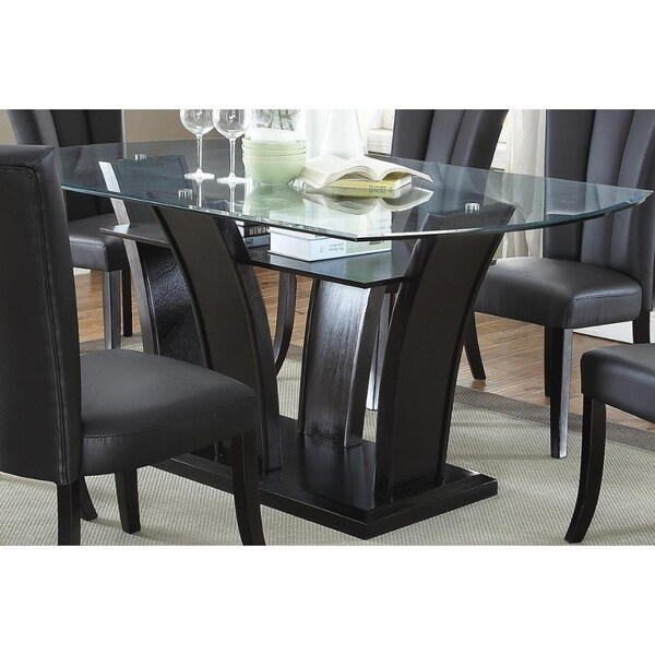 Wooden Futuristic Dining Table With 12Mm Glass Top Black