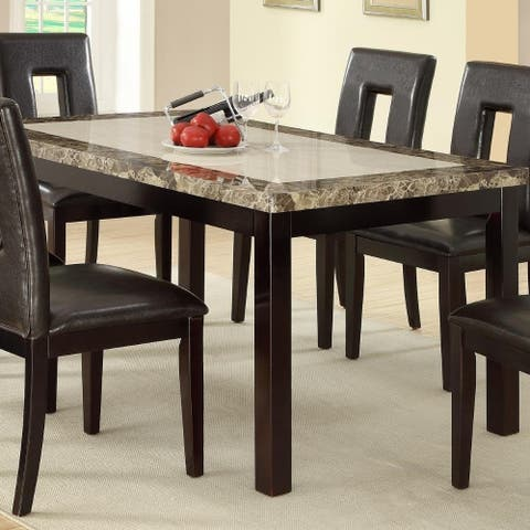 Slick Finish Faux Marble & Pine Wood Dining Table, Brown
