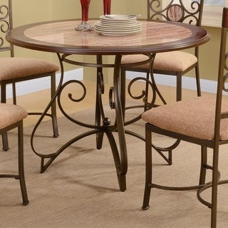 Faux Marble Dining Table With Metal Base Brown