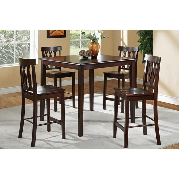 Rubber Wood 5 Piece Sturdy Counter Height Dining Set Brown