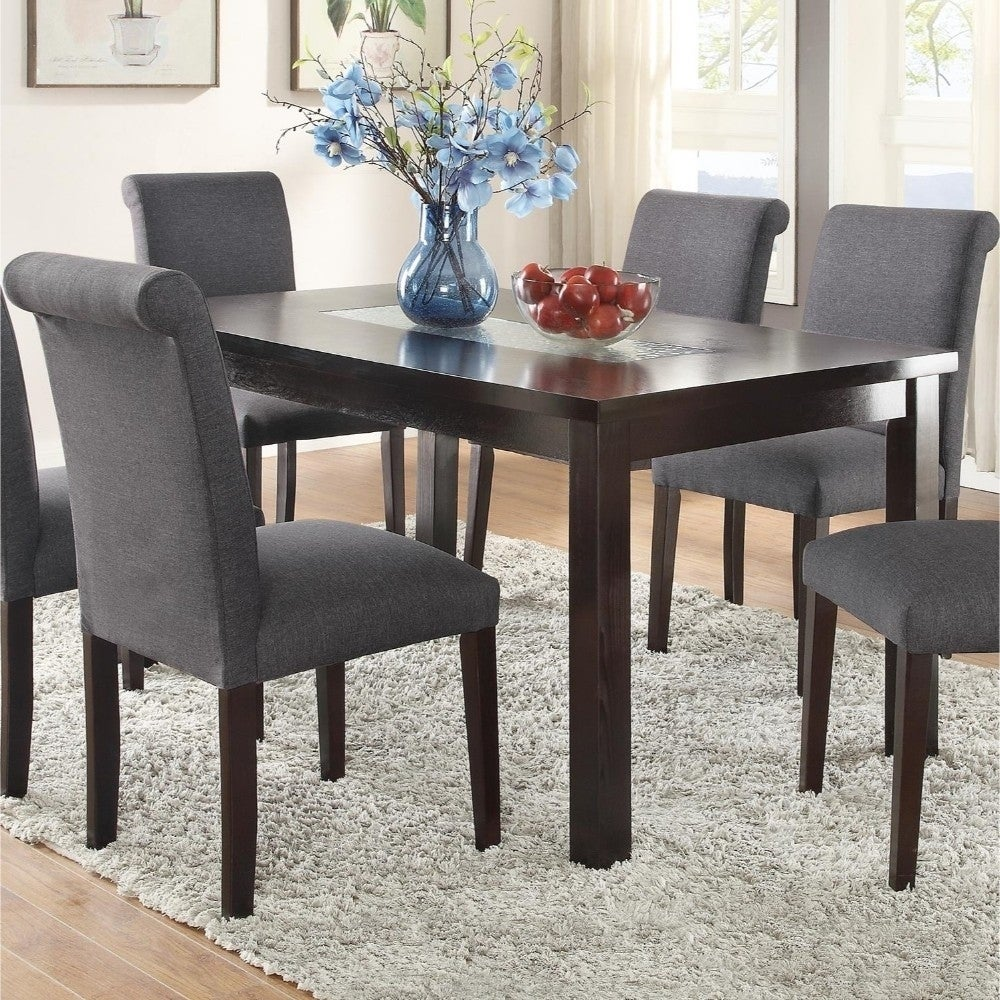 Wooden Dining Table With Tempered Glass Top Brown Overstock 20855917