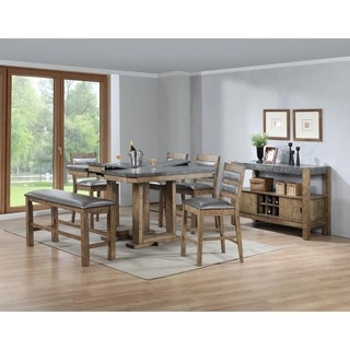 Rubber Wood Counter Height Table With Butterfly Leaf Gray and Brown