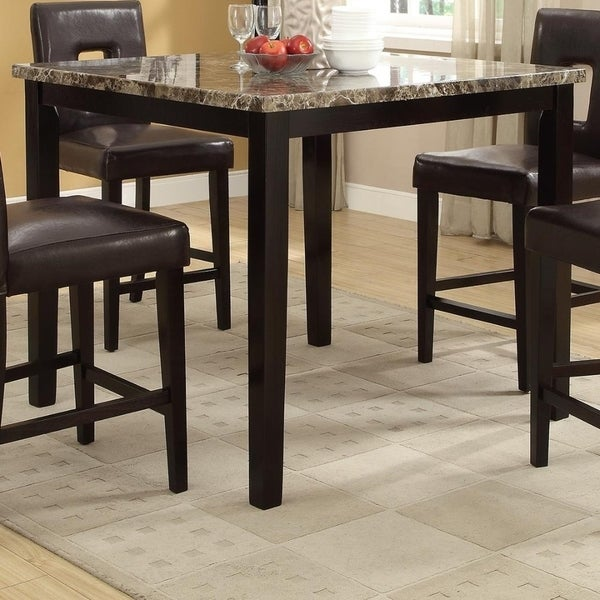 Genial Shop Spacious Wooden High Table Faux Marble Top Brown   On Sale   Free  Shipping Today   Overstock   20855954