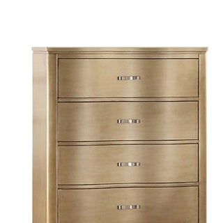 Pine Wood Chest with Five Drawers and Metal Hardware, Gold