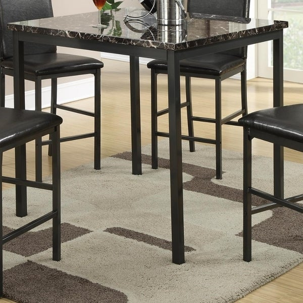 Metal Counter Height Table With Faux Marble Top, Black