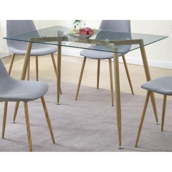 Modernly Exciting Metal Glass Dining Table Brown