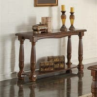 Quaint Wooden Console Table With Bottom Shelf, Brown