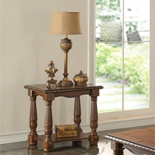 Rubber Wood End Table, Brown
