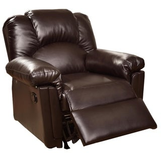 Solid Wood Framed Rocker Recliner with Faux Leather Upholstery, Brown