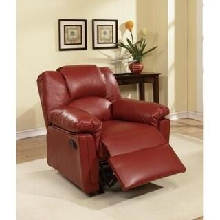 Bonded Leather Rocker/Recliner, Red
