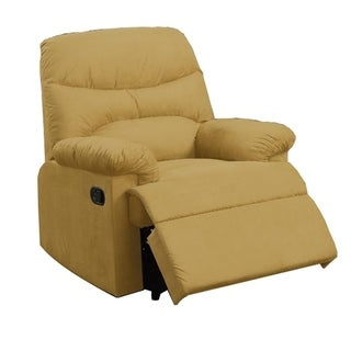 Modern Cushion Microfiber Upholstered Recliner Yellow
