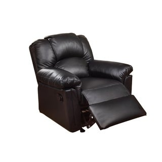 Solid Wood Framed Rocker Recliner with Faux Leather Upholstery, Black