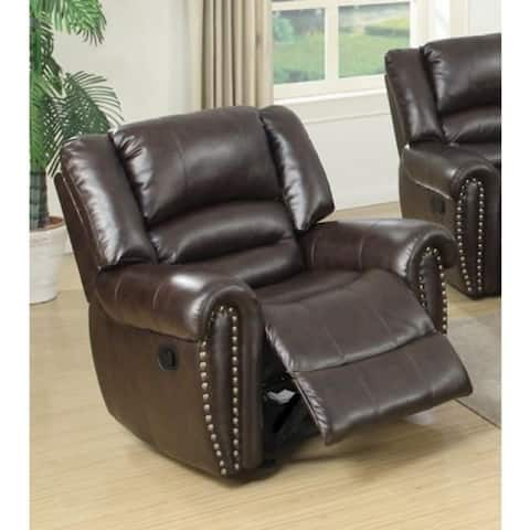 Individual Fun Bonded Leather & Plywood Recliner/Glider, Brown