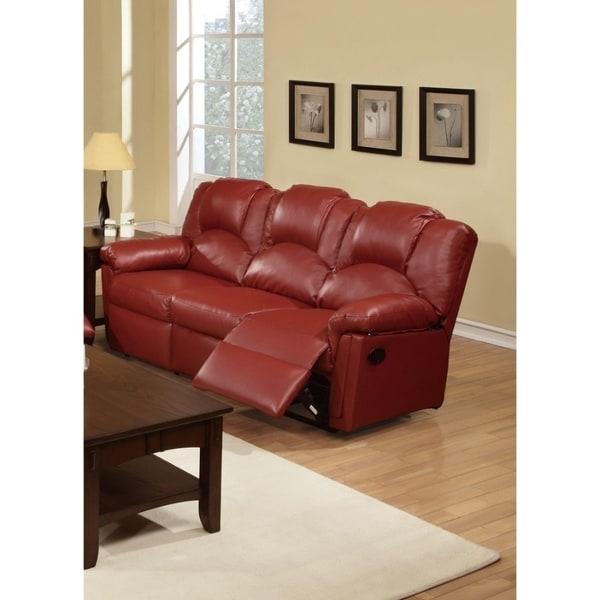 Sumptuous Hardwood, Metal & Bonded Leather Recliner Sofa, Burgundy