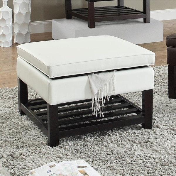 Shop Slatted Wooden Base Ottoman With Storage White And