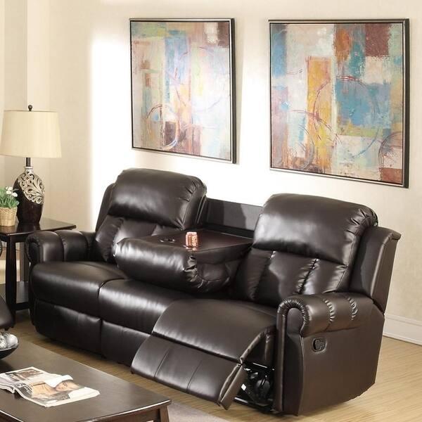 Super Grandeur Pine Wood Bonded Leather Metal Reclining Sofa Espresso Alphanode Cool Chair Designs And Ideas Alphanodeonline