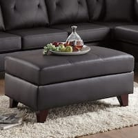Stately Urbane Genuine Leather & Pine Wood Cocktail Ottoman, Brown