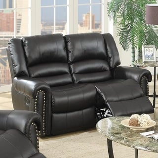 Imposing Style Bonded Leather & Plywood Reclining Love Seat, Black