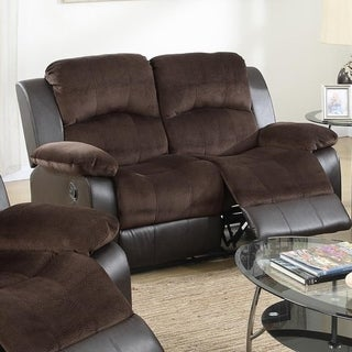 Padded Suede Faux Leather Reclining Loveseat, Brown