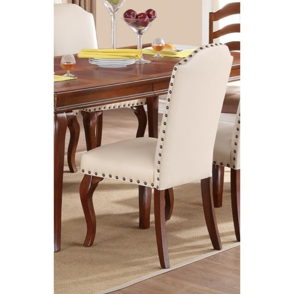 Commendable Rubber Wood Faux Leather Dining Chair, Cream (Set of 2)