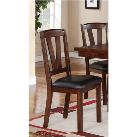 Solid Wood Leather Seat Side Chair Brown Set of 2