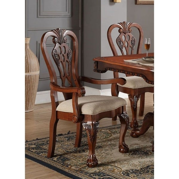 Shop Rubber Wood Traditional Arm Chairs Brown and Beige ...