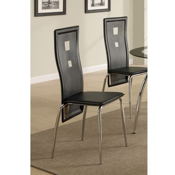 Contemporary Metal Dining Chair With Cutout Back Set Of 2 Black And Chrome On Sale Overstock 20856099