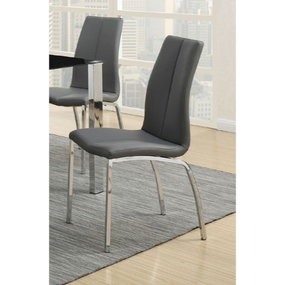 Faux Leather Upholstery Dining Chair With Chrome Legs Set Of 2 Grey Overstock 20856104
