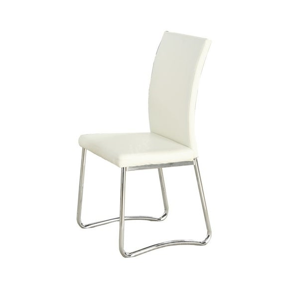 Shop Faux Leather Upholstery Dining Chair With Metal Base