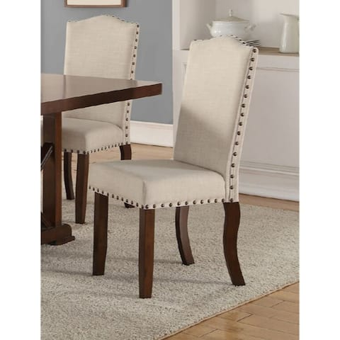 Rubber Wood Dining Chair With Nail Head Trim, Set Of 2, Brown And Cream
