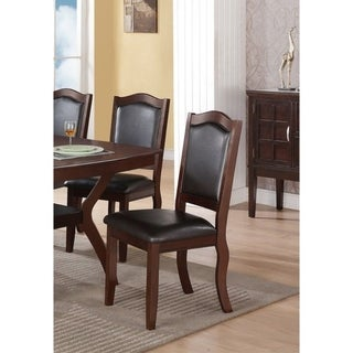 Contemporary Rubber Wood Dining Chair, Set Of 2, Brown And Black