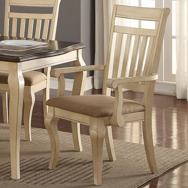 Shop Old Style Rubber Wood Dining Chairs, Set Of 2, Cream