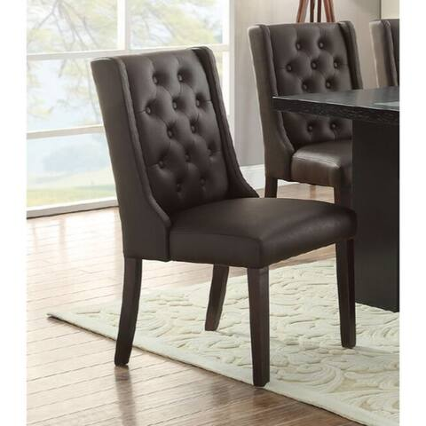 Button Tufted Royal Dining Chair, Set of 2, Dark Brown