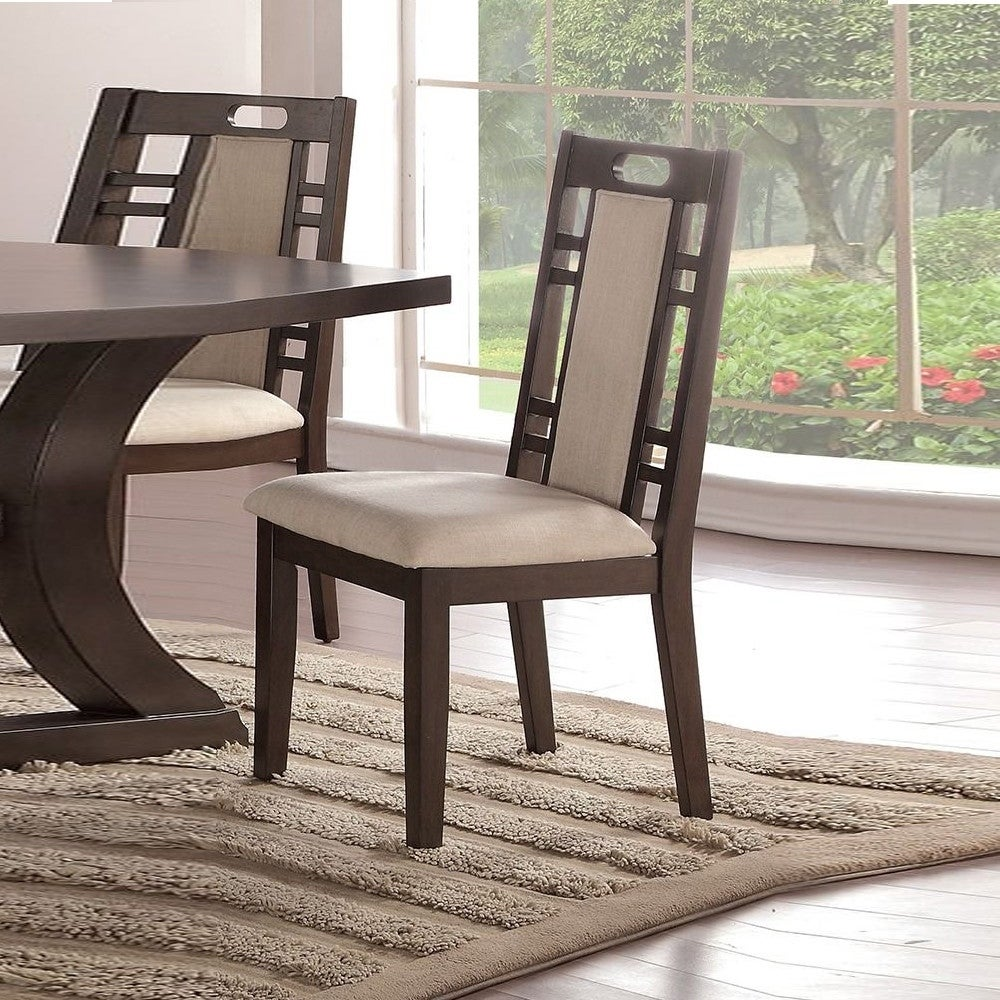 Rubber Wood Dining Chair with Cushion Back and Seat, Set of 8, Brown