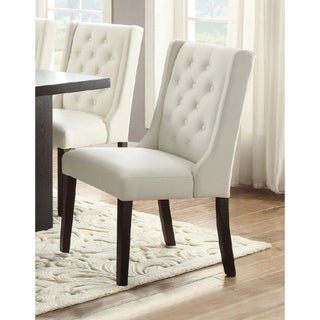 Upholstered Button Tufted Leatherette Dining Chair, Set Of 2,White