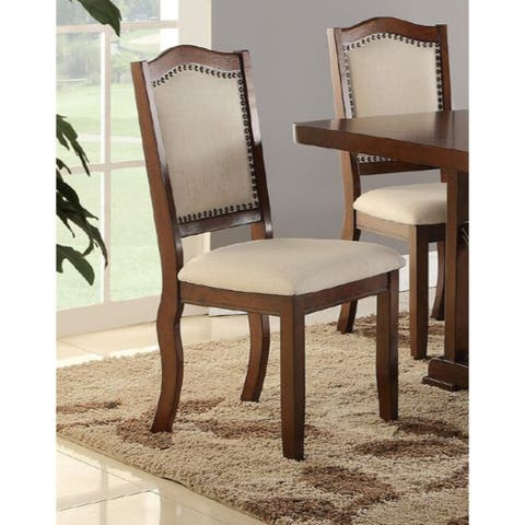 Contemporary Rubber Wood Dining Chair, Set of 2, Brown and Cream