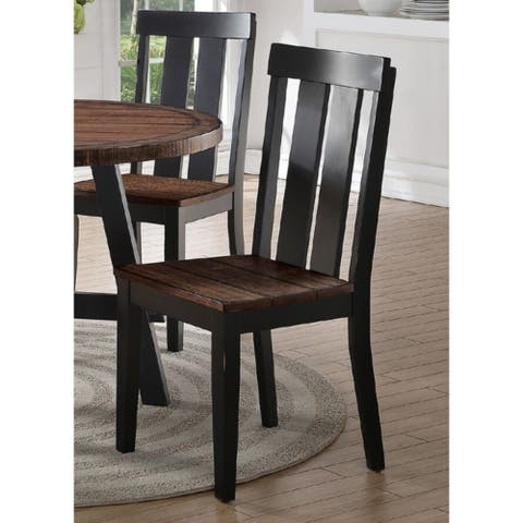 Rubber Wood Dining Chair with Slatted Back, Set of 2, Brown and Black