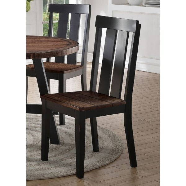 Shop Rubber Wood Dining Chair With Slatted Back, Set Of 2 ...