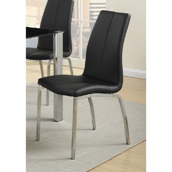 Marvelous Contemporary Faux Leather Upholstery Dining Chair Set Of 2 Black And Chrome Camellatalisay Diy Chair Ideas Camellatalisaycom