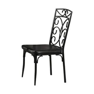 Metal Based Dining Chair With Leatherette Seat, Set Of 2,Black