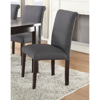 Set Of 2 Solid Wood Dining Chair In Grey Upholstery