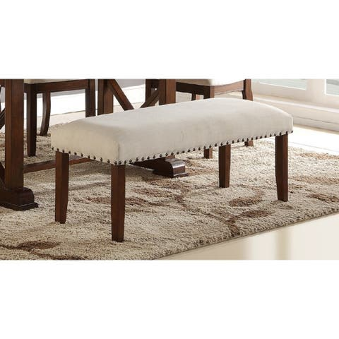 Rubber Wood Bench with Nail trim head design Brown and Cream