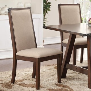 Set Of 2 Comfortable Rubber Wood Dining Chair, Beige And Brown